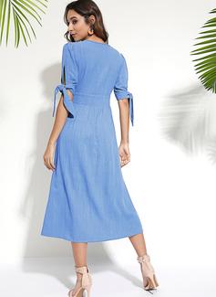 Solid A-linjeklänning Korta ärmar Midi Fritids Semester skater Modeklänningar