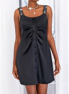 Sólido Cubierta Sin mangas Mini Pequeños Negros Casual Vestidos de moda