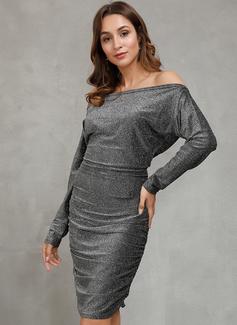 Medium One-Shoulder Polyester pailletter/Solid Lange ærmer Mode kjoler
