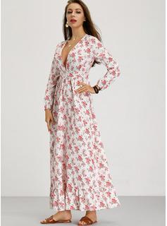 Maxi Escote en V poliéster/Algodón Impresión/Volantes Mangas Largas Vestidos de moda