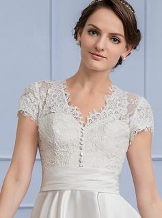 A-Line/Princess V-neck Tea-Length Satin Wedding Dress With Ruffle Pockets