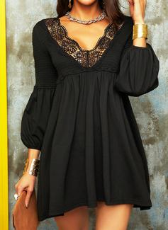 Blonder Solid Skiftekjoler Lantern ærmer Lange ærmer Mini Den lille sorte Elegant Tunika Mode kjoler