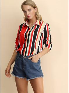 Manga larga poliéster Solapa Camisas Blusas Blusas