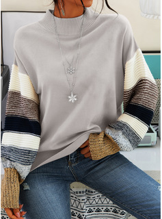 Round Neck Casual Color Block Chunky knit Sweaters
