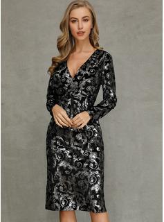 Medium V-hals Polyester Print Lange ærmer Mode kjoler