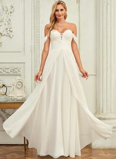 A-Line Off-the-Shoulder Floor-Length Chiffon Lace Wedding Dress