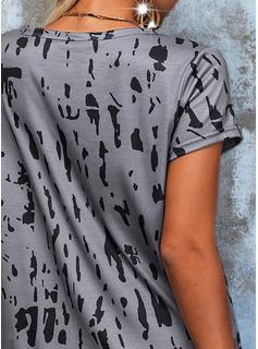 Impresión Cordones Cuello Redondo Manga Corta Casual Blusas