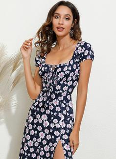 Blomster Print Kjole med A-linje Korte ærmer Midi Casual Ferie skater Mode kjoler