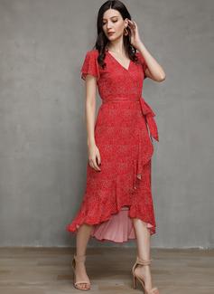 Sukienka Trapezowa Dekolt w kształcie litery V Bawełna Modne Suknie