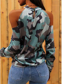 Print Cold Shoulder Long Sleeves Casual