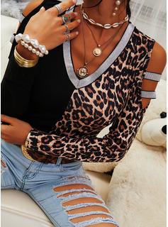 leopardo Blocchi di colore Paillettes Spalle esposte Maniche lunghe Casuale Camicie