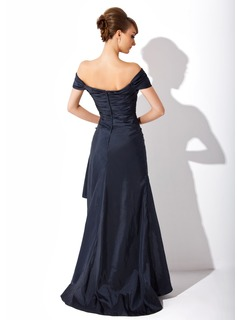 A-Line Off-the-Shoulder Sweep Train Taffeta Mother of the Bride Dress With Ruffle Appliques Lace Sequins