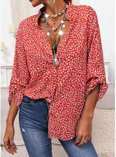 Impresión Cuello en V Manga Larga Casual Camisas Blusas