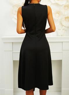 Solid A-line Sleeveless Midi Little Black Casual Skater Dresses