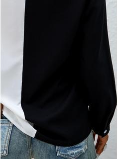 leopardo Blocchi di colore Patchwork Risvolto Maniche lunghe Casuale Shirt and Blouses