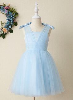 A-Line Knee-length Flower Girl Dress - Tulle Sleeveless V-neck With Bow(s)
