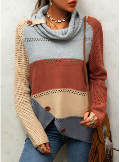 Cowl Neck Casual Color Block Sweaters