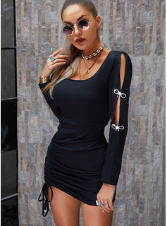 Solid Bodycon Long Sleeves Mini Little Black Party Dresses
