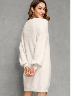 Cuello redondo poliéster Mangas Largas Sólido/Punto Grueso Vestido de Suéter Vestidos de moda