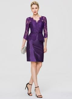 Sheath/Column V-neck Knee-Length Taffeta Cocktail Dress