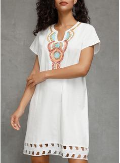 Print Skiftekjoler Korte ærmer Midi Casual T-shirt Tunika Mode kjoler