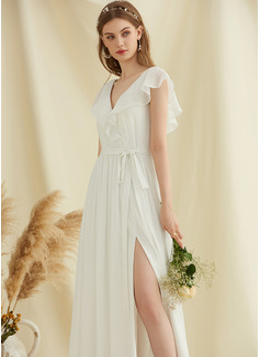 A-Line V-neck Floor-Length Chiffon Wedding Dress With Split Front Cascading Ruffles