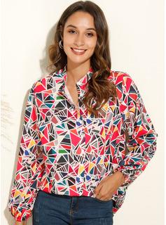estampado geométrico Manga larga poliéster Escote en V Camisas Blusas Blusas