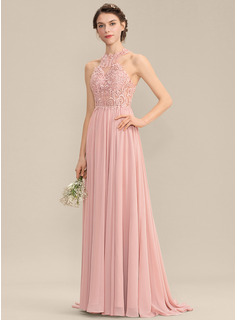 A-Line Scoop Neck Sweep Train Chiffon Lace Bridesmaid Dress With Sequins