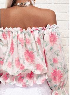Floral Impresión Hombros Descubiertos Mangas 3/4 Casual Blusas
