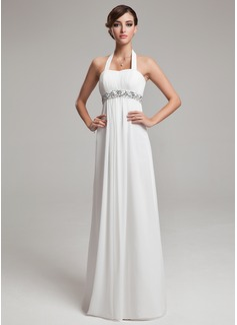 Empire Halter Floor-Length Chiffon Wedding Dress With Ruffle Beading Sequins