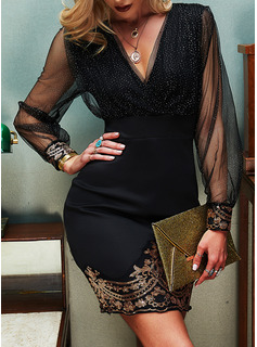 Sequins Solid Bodycon Long Sleeves Mini Party Elegant Dresses