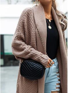 Lässige Kleidung Lange Einfarbig Grobstrick Pullover