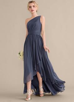 A-Linie Eine Schulter Asymmetrisch Chiffon Brautjungfernkleid mit Gestufte Rüschen