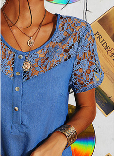Lace Solid Shift Short Sleeves Mini Denim Casual Tunic Dresses