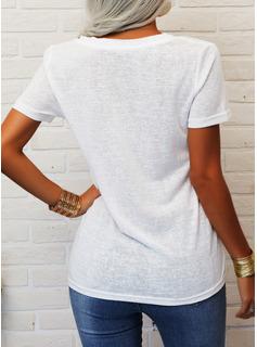 Trykk V-hals Kortermer Avslappet T skjorte
