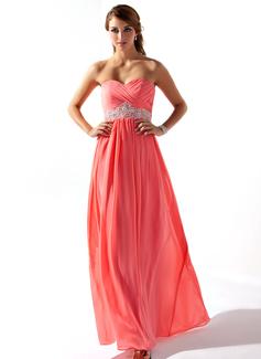 Empire Sweetheart Floor-Length Chiffon Prom Dresses With Ruffle Beading