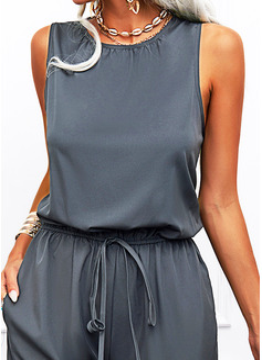 Solid Sheath Sleeveless Maxi Casual Jumpsuits Dresses