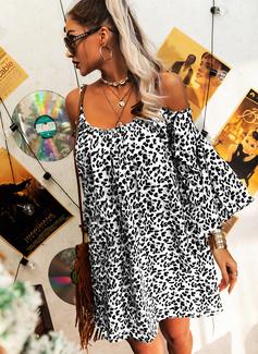 lampart Suknie shift Odkryte ramię Długie rękawy Mini Nieformalny Wakacyjna Tunika Modne Suknie