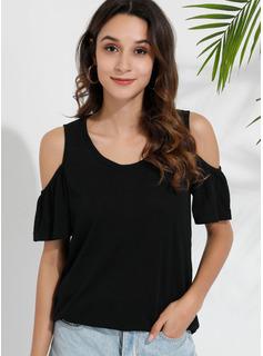 Einfarbig Kurze Ärmel Polyester Schulterfrei T-shirt Blusen