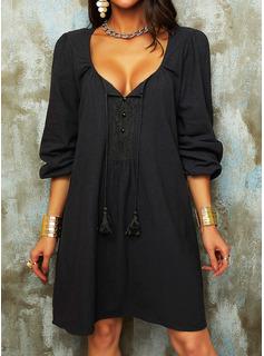 Solid Skiftekjoler 3/4 ærmer Mini Den lille sorte Casual Ferie Tunika Mode kjoler