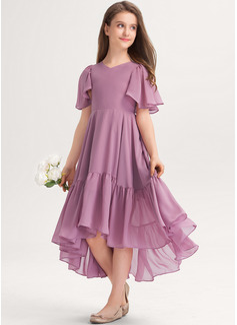 A-Line V-neck Asymmetrical Chiffon Junior Bridesmaid Dress With Cascading Ruffles