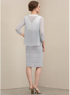 Sheath/Column V-neck Knee-Length Chiffon Mother of the Bride Dress With Lace Cascading Ruffles