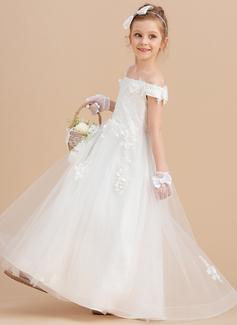 Robe Marquise/Princesse Balayage/Pinceau train Robes à Fleurs pour Filles - Tulle/Dentelle Sans manches Hors-la-épaule avec Fleur(s)
