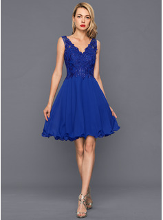 5aadc8a06d A-Line Princess V-neck Knee-Length Chiffon Cocktail Dress With Sequins  (016146673) - Cocktail Dresses - DressFirst