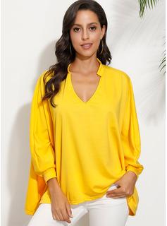 Solid Lange ærmer Polyester V-hals T-shirt Bluser