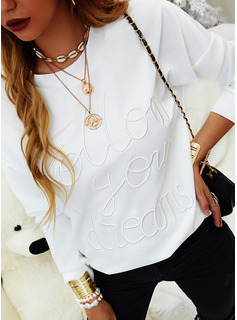 Figure Solid Round Neck Long Sleeves Casual T-shirt