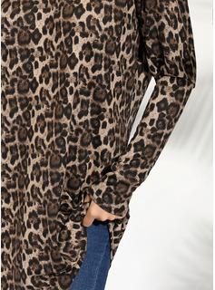 Leopardo Manga larga Algodón poliéster Escote en V Tejido Blusas
