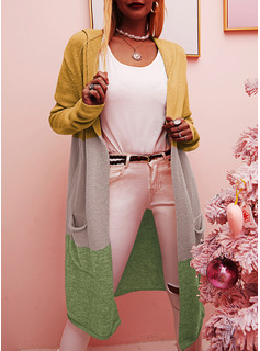 フード付き カジュアル 長い カラーブロック ポケット セーター