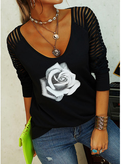 Floral Print V-Neck Long Sleeves Casual Blouses