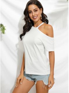 Einfarbig Kurze Ärmel Polyester Eine Schulter T-shirt Blusen